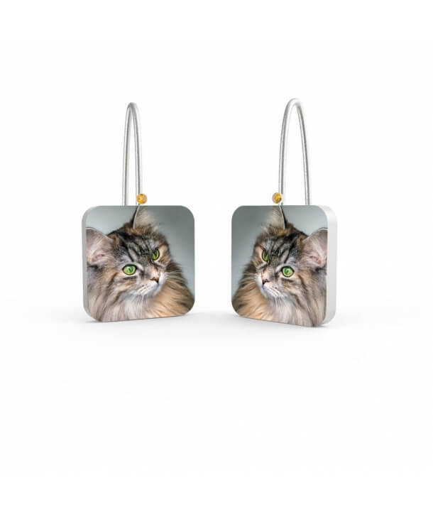 Personalized Earrings with Zircons - The Curious Cat