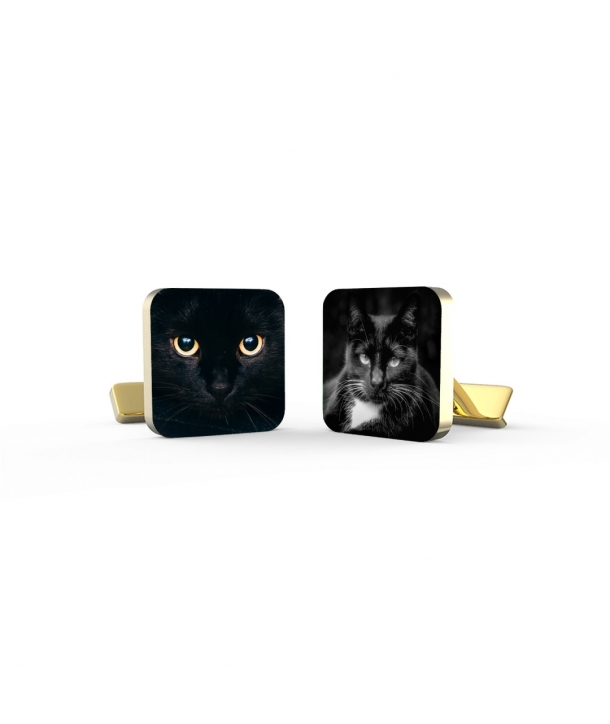 Personalized Cufflinks - Black Cat's