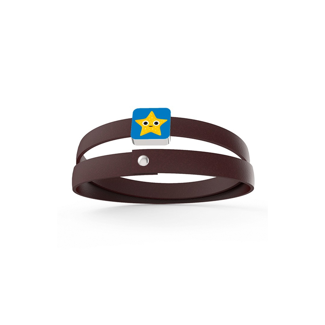 Bracelet 2 Rounds 1 Xtile Riflessi d'Oro glossy, Bordeaux Leather, Pin Riflessi d'Oro glossy - FinnanoFenno Star