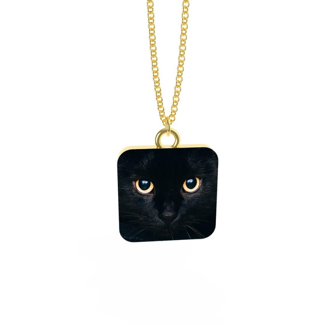 Collana con Ciondolo Black Cat Placcata Oro