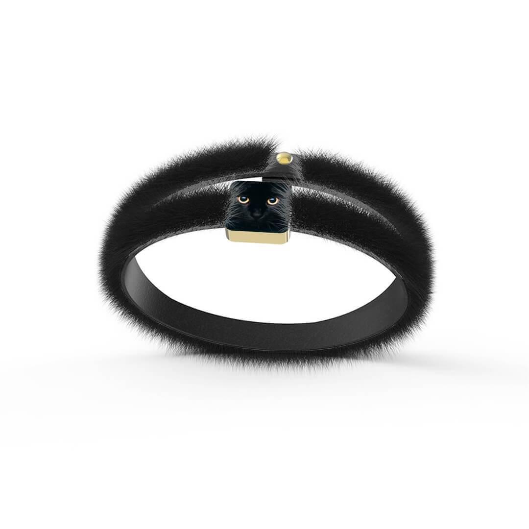 Eco Fur Bracelet Black Cat Gold Plated