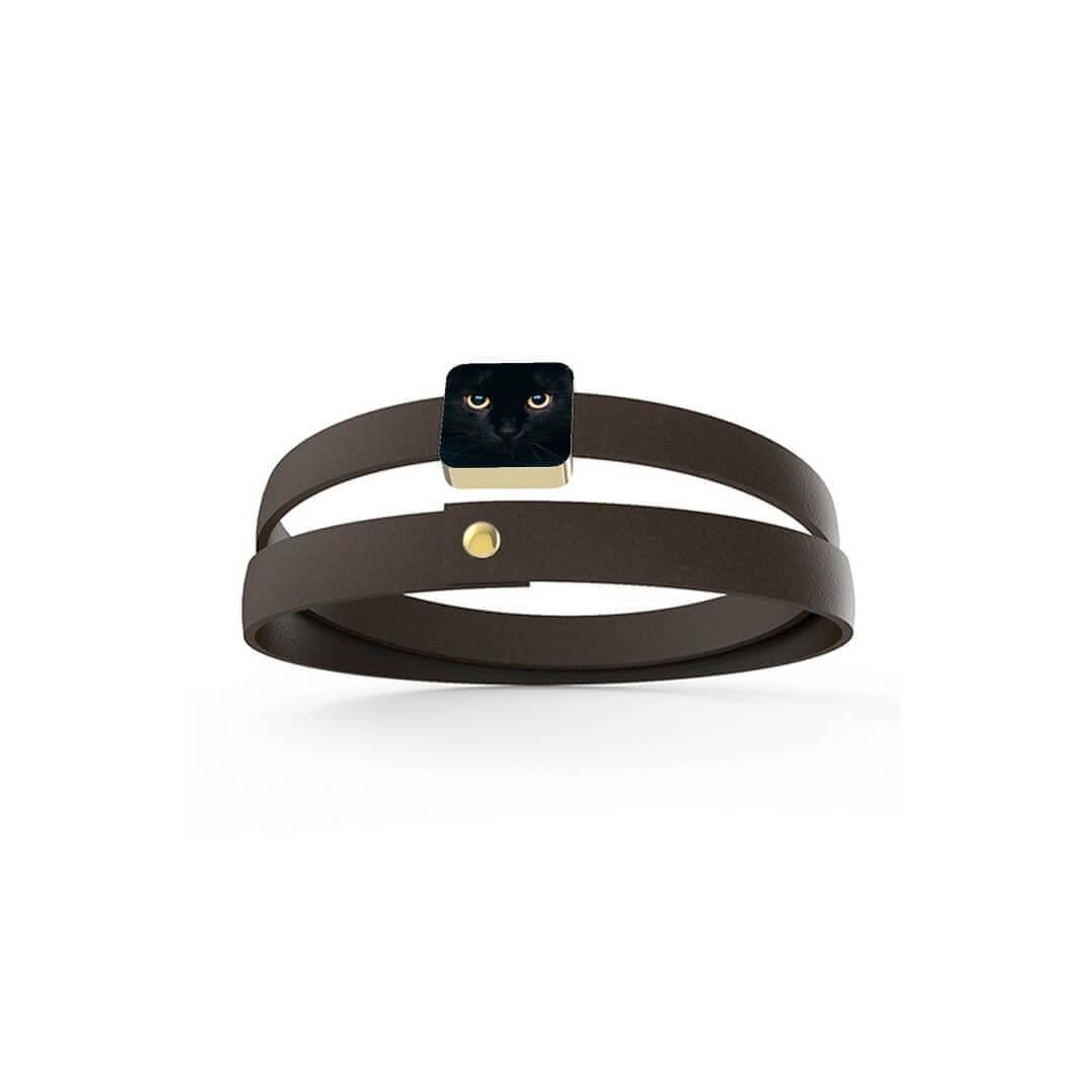 Personalized Bracelet Black Cat Black Leather