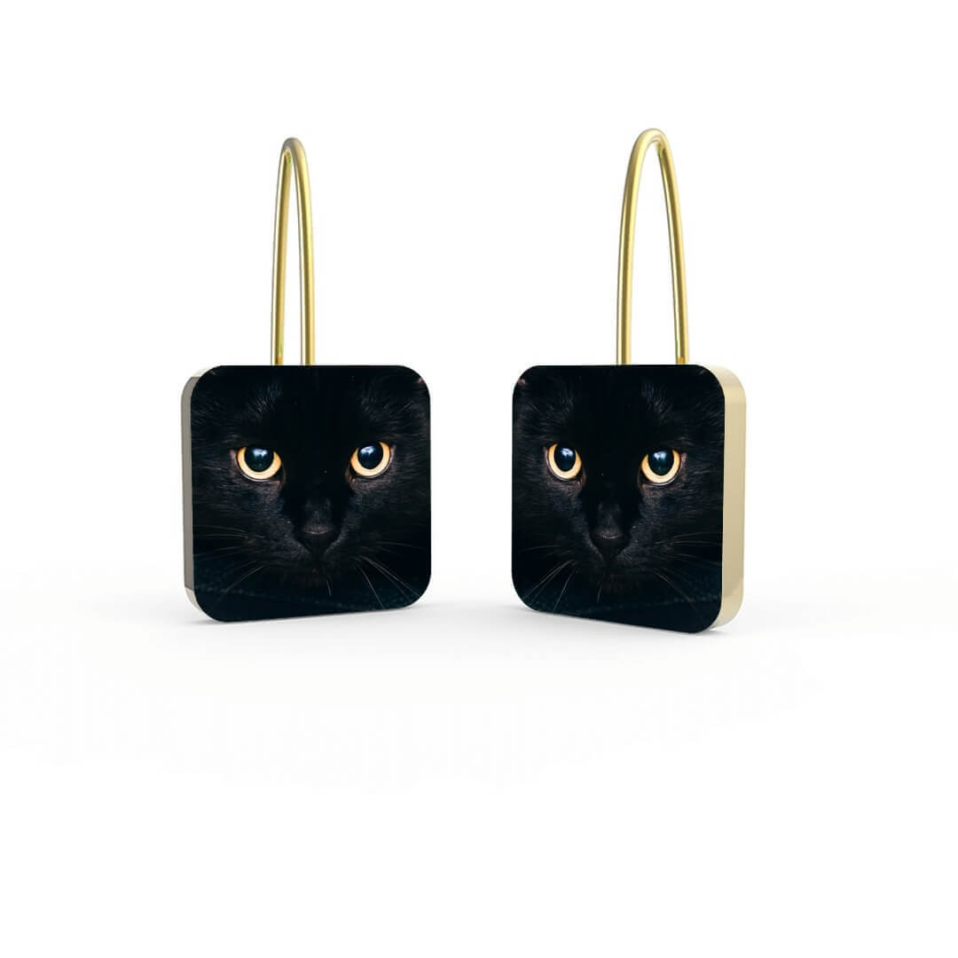 Black Cat Personalized Earrings