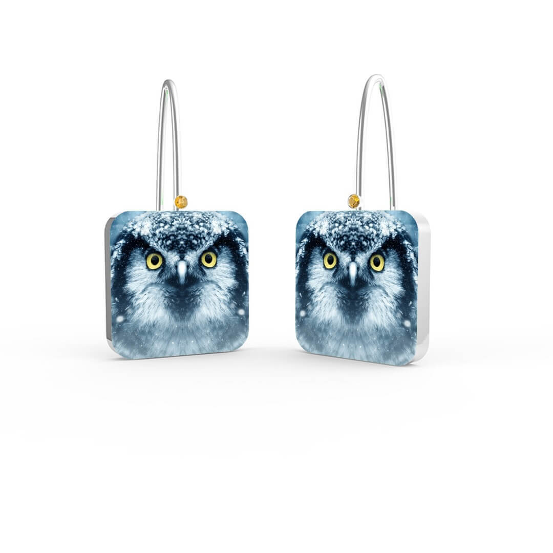 ORECCHINI OWL YELLOW STONE